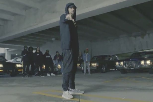 "Eminem in the video of ""The Storm"""