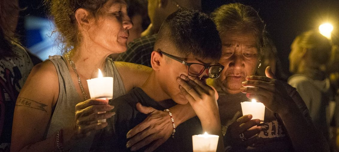 Bereaved family members and friends of the victims